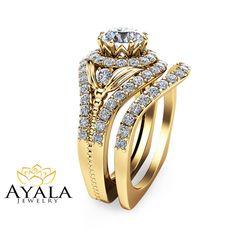 14K Yellow Gold Diamond Engagement Set Unique by AyalaDiamonds