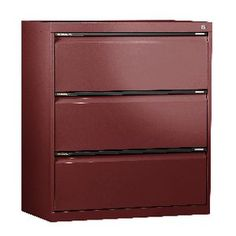 SW 3 Drawer Lateral Cabinet Burgundy