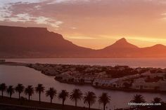 View From Milnerton at Table Mountain and Lion's Head, Cape Town, South Africa