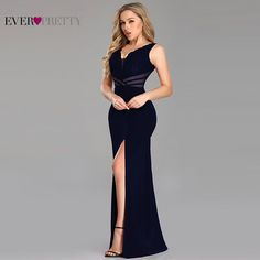 Evening Dresses Long Ever Pretty Sexy Leg Slit Straight Lace See-through V-neck Formal Party Gowns 2019 Abendkleider. If You Want to get more ideas just click picture. Black Evening Dresses, Evening Gowns, Evening Party, Formal Dresses With Sleeves, Formal Dresses For Women, Party Gowns, Party Dress, Ball Gowns, Prom Dresses