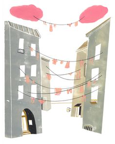 Clothesline, whimsical illustration by ©Mark Hoffmann. Represented by i2i Art Inc. #i2iart
