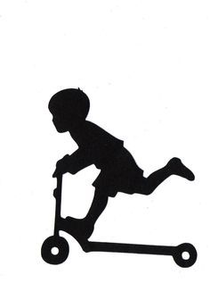 BOY riding scooter Child Silhouette die by simplymadescrapbooks
