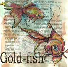 Flying Shoes art studio: GOLD-FISH.  Click through for more great art.