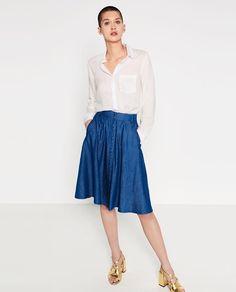 Zara white lyocell basic shirt