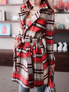 Love Love Love this Coat! Super Cute! Love Plaid! Red Plaid Double-breasted Woolen Winter