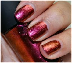 """WANT. Disney themed duochrome Mac nail polish that goes from gold to ruby red to """"molten lava copper."""" $13 to bat."""