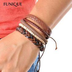 1Set (3-4PCs) Leather Bracelet Men Multilayer bead Bracelet Punk Wrap – ROSalarsJewelry
