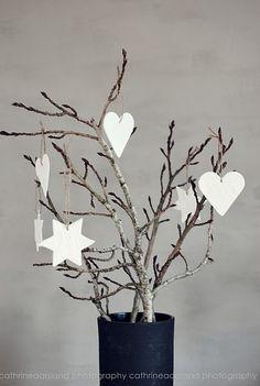 kersthangers gips diy kerst rol klei uit tot dikte 5 mm, met steekvorm vormpjes uit de klei. Gaatje prikken met sate prikker, touwtje erdoor. 24 uur drogen op een stuk papier, af en toe omdraaien. Evt. kant indrukken voor patroon