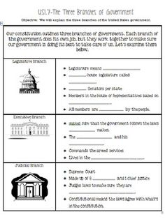 3 branches of government worksheet middle school
