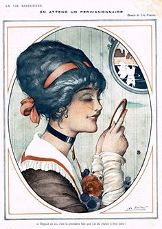 "La Vie Parisienne Page - ""ON ATTEND UN PERMISSIONNAIRE"" - Lithograph - 1915"