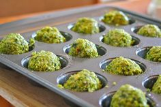 Baked Falafel - 24 balls 3 Tbs olive oil 2 (15 oz) cans chickpeas, drained chop 1 red onion, 2 garlic cloves, 3 Tbs parsley, 3 Tbs cilantro 3 Tbs. all-purpose flour 1 Tbs chili powder 1 1/2 Tbs salt 1 Tbs lemon juice 1 Tbsp. cumin 1/2 tsp baking powder Grease 2 mini muffin tins. Process chickpeas, then all ingredients to a paste-like consistency. Bake at 375°, flipping halfway through, until balls are golden crisp, 15 to 20 mins.