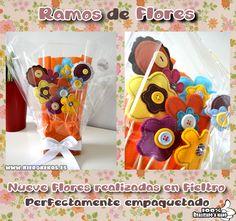 Bouquet de flores en fieltro, ideal como detalle para bodas u otros eventos.  100% realizado a mano.  www.kierokekos.es