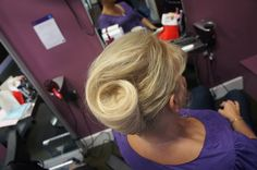 French pleat  Clients own hair is short bob and glued in hair extensions.  Sides not very tight and slick due to hair extension bonds.