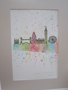 London in Watercolour, original painting, ready to be framed, on mount board, special gift or home decor by AngelAtMyEasel on Etsy