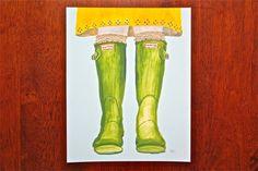 Hunter Boots art, spring art, boots illustration, wellies print, shoe art print, rain boots art, fashion illustration. $17.00, via Etsy.