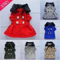 Fashion Furred Collar Dog Clothes Dog Wool Coat Dog Dress Jacket Free Shipping ★