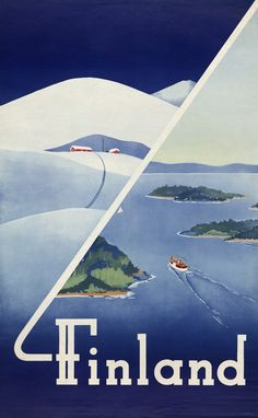 This vintage Finnish travel poster shows scenes from summer and winter. This vintage Finnish travel poster shows scenes from summer and winter. Retro Poster, Poster S, Vintage Travel Posters, Vintage Ads, Finland Summer, Finland Travel, Travel Ads, Usa Travel, Travel Photos