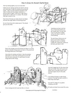 How to Draw Worksheets for The Young Artist: Printable How To Draw The Castle Ruins Worksheet