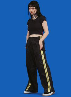 Easy excess in the new Tearaway sweats. Relaxed workout pants (exercise not required) with tearaway buttons down the sides. Fit is true to size. Planet Fashion, Punk Rock Girls, T Dress, Haircuts With Bangs, Unif, Aesthetic Fashion, Dark Fashion, Workout Pants, Alter