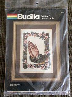 "New Bucilla Cross Stitch Kit 40253 Praying Hands Pink Flowers Border 9 X 12""  #Bucilla"
