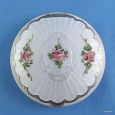 Vintage SilverGilt White Guilloche Enamel Compact, with Rose Motif