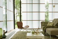 Neutral shades with accent of wood for large bi fold doors Panel Blinds, Drapes And Blinds, House Blinds, Curtains, Japanese Bedroom, Japanese Interior, Japanese Blinds, Bristol Houses, Bali Blinds