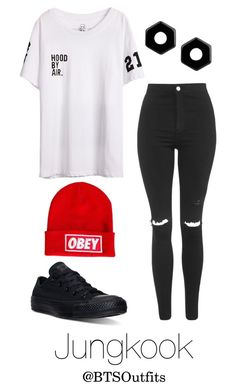 """Imitating Him at a Fansign: Jungkook"" by btsoutfits ❤ liked on Polyvore featuring Converse, Topshop, Marc by Marc Jacobs and OBEY Clothing"