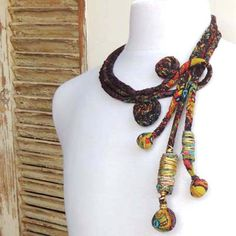 Brown Woman's handmade necklace.fabric necklace,textile jewelry.fiber art…