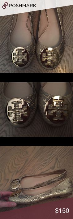 Tory Burch Snakeskin Reva Flats With gold detailing! Love! Price is firm. Tory Burch Shoes Flats & Loafers