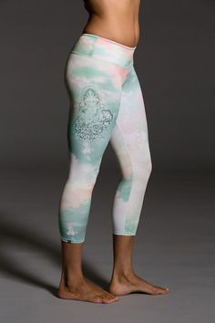 Blending art and fashion, the unique placement printing process for our Graphic Capri Chakra is one of kind! These capris are custom made and are truly statement pieces. Available in sizes XS, SM, ML.