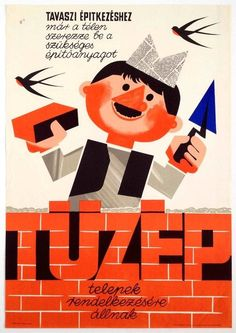 Some of our favourite posters are those for which we can find no specific information, but which make us smile because of their simple graphics, cl. Vintage Ads, Vintage Posters, Newspaper Hat, Kids Poster, Smile Because, Illustrations And Posters, Character Drawing, Artsy Fartsy, Illustrators