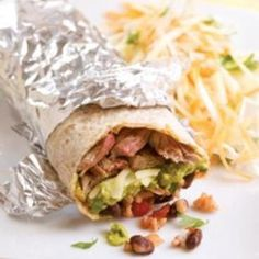 Steak Burritos. Very tasty, would make them again. I doubled the recipe, but used a 19 oz can of black beans. I seasoned the steak with Montreal steak spice. I assembled them and wrapped them in parchment and foil before serving.