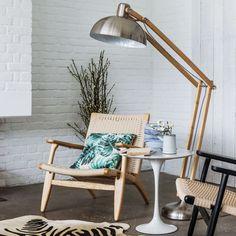 Wood & Brushed Steel Traditional Floor Lamp