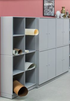 Montana at Orgatec 2016 showing office furniture and interiors. Montana Furniture is a versatile storage system that offers endless possibilities. #montana #office #furniture #shelving #grey #pink #pastels #workspace