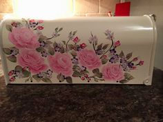 Hand painted mailbox pink rose mailbox by DaisyCustomPainting