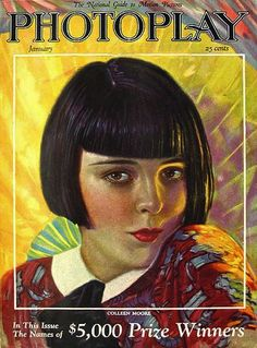 Colleen Moore on the cover of Photoplay (Jan 1926). One eye was brown and the other blue. Her main rival early on was Clara Bow (both played...