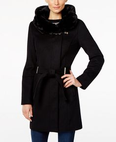 1227bec6f02 Calvin Klein Faux-Fur-Hood Asymmetrical Coat   Reviews - Coats - Women -  Macy s