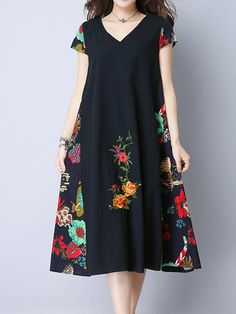 daily dress me Buy Vintage Embroidered V-Neck Short Sleeve Women Dresses online with cheap prices and discover fashion Dresses,Vintage Dresses at . Dress Outfits, Fashion Dresses, Dresses Dresses, Casual Dresses, Patchwork Dress, Dresses Online, Vintage Dresses, Robes Vintage, Vestidos Vintage