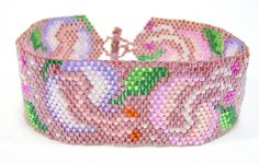 Petals and Pistils Beadwoven Bracelet.This bracelet is beadwoven with cylinder seed beads from a design by Lenni Cramer. Unique Bracelets, Handmade Bracelets, Cuff Bracelets, Handmade Jewelry, Free People Jewelry, Pink Jewelry, Bead Weaving, Jewelry Crafts, Seed Beads
