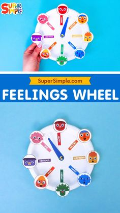"""Our Feelings Wheel features the Noodle & Pals characters from the music video """"This Is A Happy Face"""" making all the different facial expressions from the song: happy, sleepy, angry, surprised, excited, sad, nervous and silly. You can follow along with the wheel as you listen to the song, or use it for a number of activities to help your little one learn about emotions. Emotions Preschool, Teaching Emotions, Preschool Songs, Craft Activities For Kids, Toddler Preschool, Toddler Crafts, Toddler Activities, Teaching Kids, Emotions Wheel"""