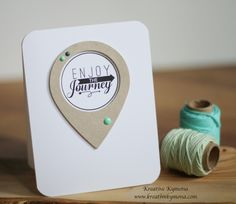 Enjoy the Journey was created with Simon Says Stamp Geo Tag and Life's Journey stamp set and Mind Mines Eye enamel dots.