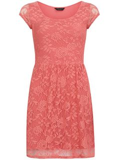 Coral short sleeve lace dress