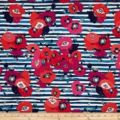 Art Gallery Skopelos Jersey Knit Paparounes Crimson Fabric By The Yard