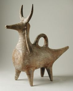 Cow with Incised Design Western Iran Sculpture Ceramic