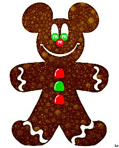 Gingerbread Mickey- This picture inspires me to find a cutter like this and make these to take with us as treats!