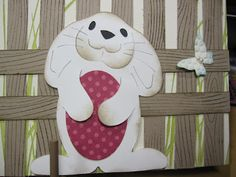 Easter Bunny on a scrapbook page made by Karen Angel.