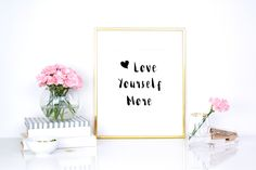 "Print our free motivational quote ""Love yourself more"" and keep it as a reminder that we cannot give to someone else what we don't have. Accept who you are, take care of your body, and start building a solid foundation for a happy and full life. http://www.spotebi.com/fitness-freebies/love-yourself-more-motivational-print/"