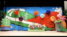 Seussical backdrop and props