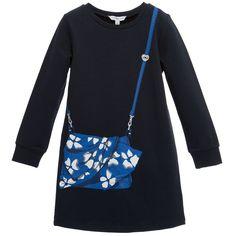 Little Marc Jacobs Navy Blue Jersey Handbag Print Dress at Childrensalon.com