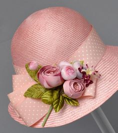 So Pretty in Pink ~ Straw Cloche Hat with Pink & White Polka Dot Ribbon Band, & Pink Silk Flower Corsage on Bow . Kentucky Derby Hats for Women . Tea Hats, Tea Party Hats, Cloche Hats, Top Hats For Women, Women Hats, Ladies Hats, Flapper, Mein Style, Fancy Hats